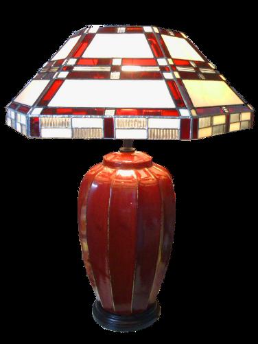 Lampe Art Déco rouge - Vitrail Tiffany