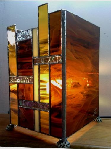 Lampe Art Déco ambre - Vitrail Tiffany