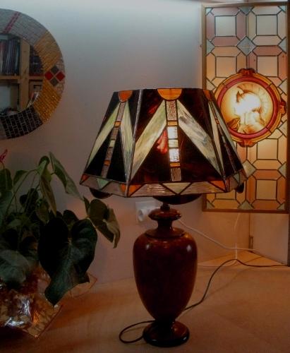 Lampe Art Déco marron - Vitrail Tiffany