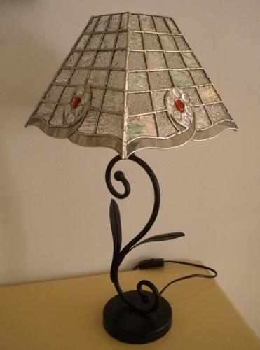 "Lampe Vitrail Tiffany ""Cristal rouge"""