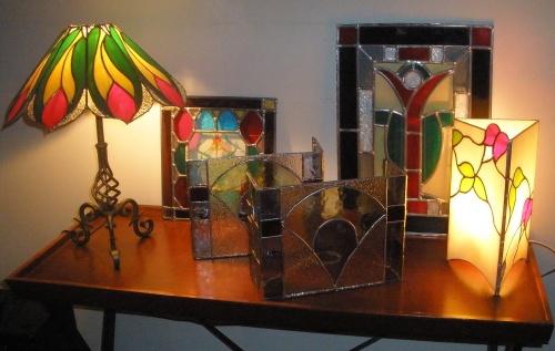 """Lampe """"Plume"""" en Vitrail Tiffany"""
