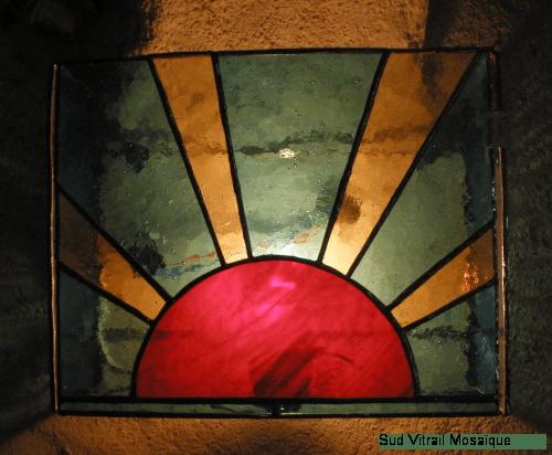 "Applique ""Soleil-levant"" - Vitrail Tiffany"