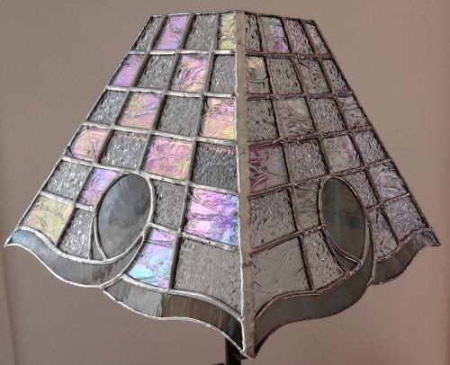 "Lampe Vitrail Tiffany ""Cristal gris"""