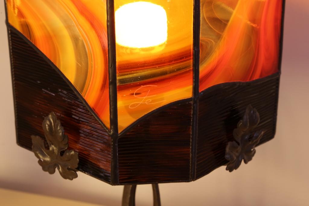 """Détail lampe Vitrail """"Tiffany"""" Art déco"""