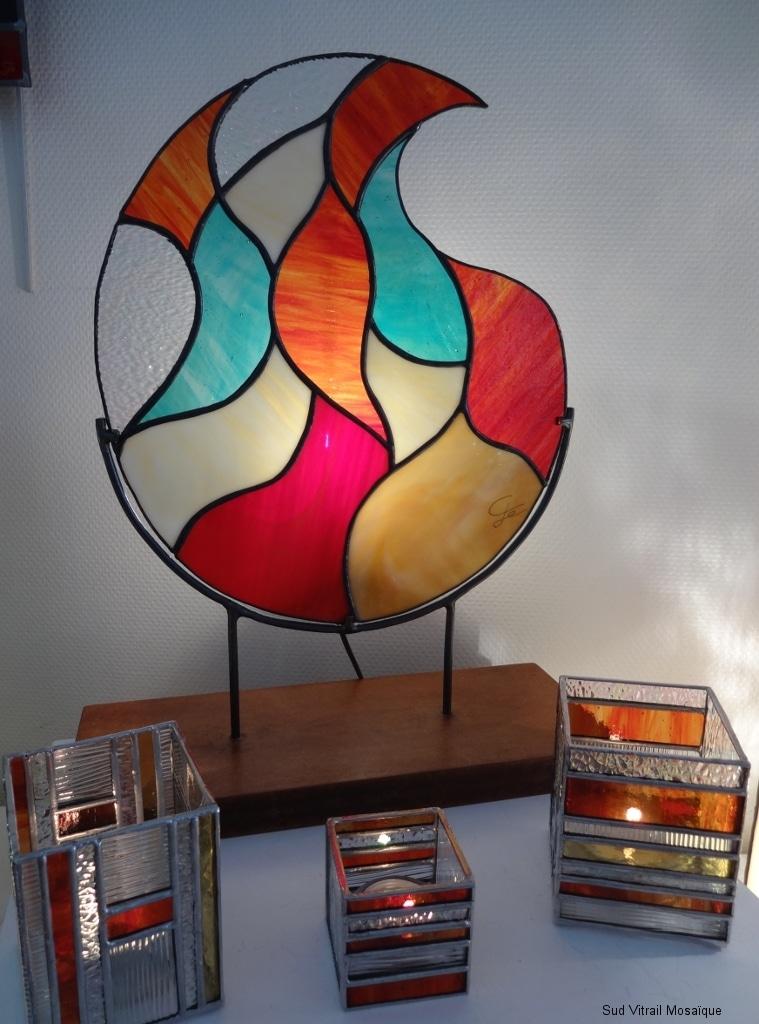 "Lampe Vitrail Tiffany ""Flamme"""
