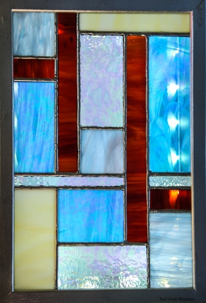 "Tableau lumineux Vitrail ""Tiffany"" Art déco"