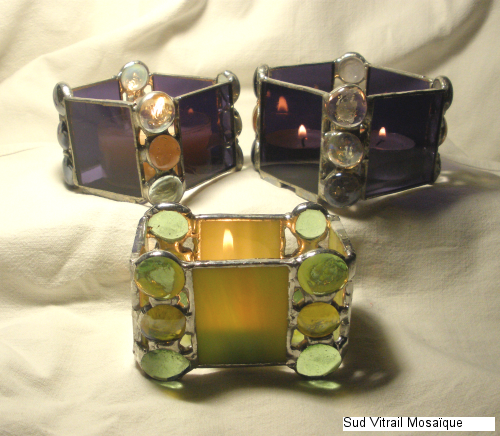 "Photophores en vitrail ""Tiffany"" vert - violet - Transparent"