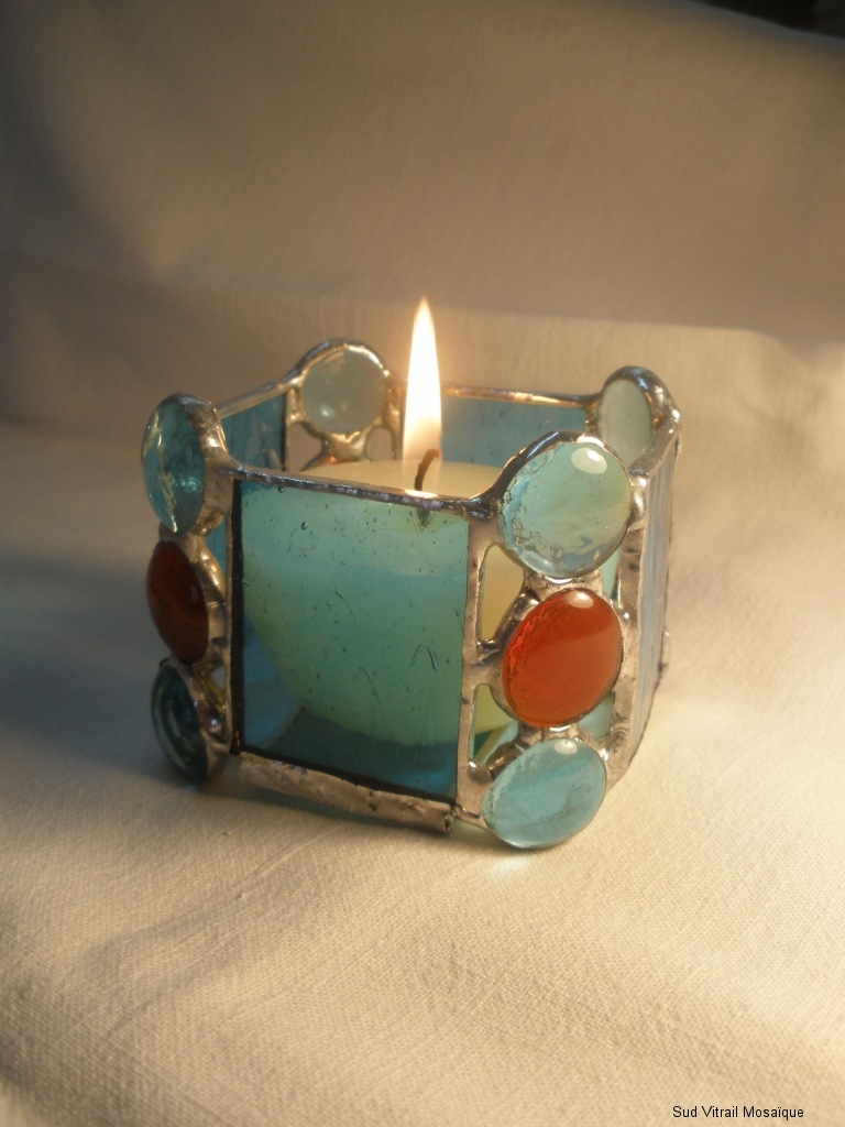 "Photophore en vitrail ""Tiffany"" turquoise - rouge - Transparent"