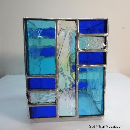 """Photophore en vitrail """"Tiffany"""" bleu turquoise - cobalt - Transparent"""