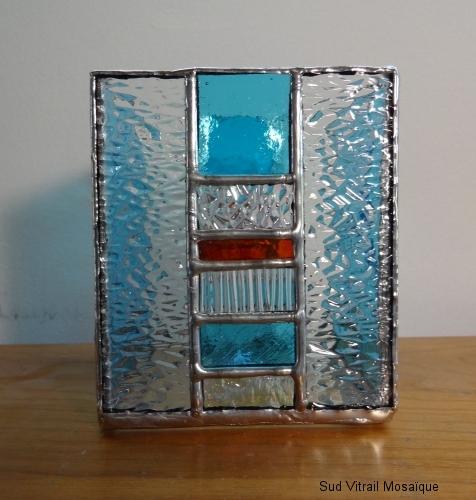 """Photophore en vitrail """"Tiffany"""" bleu turquoise - rouge - Transparent"""