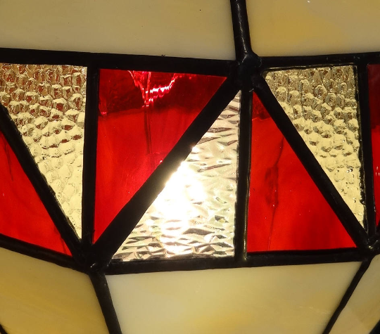"""Lampe en vitrail """"Tiffany"""" rouge"""