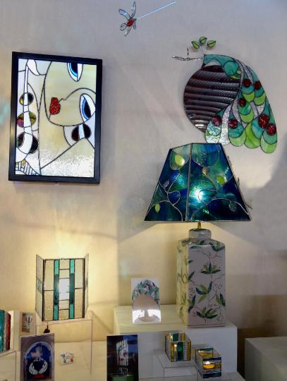 """Création d'un Tableau lumineux Sax en vitrail """"Tiffany"""" comtemporain"""