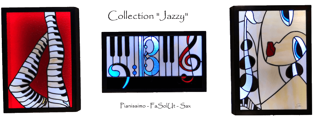 """Tableaux lumineux en vitrail Tiffany - Collection """"Jazzy"""""""