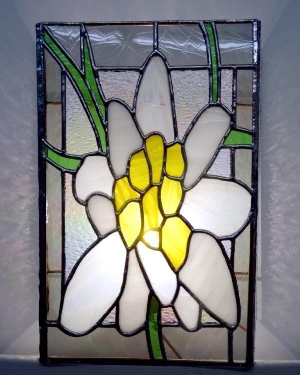 """Applique florale en vitrail """"Tiffany"""" - Sud Vitrail Mosaïque"""