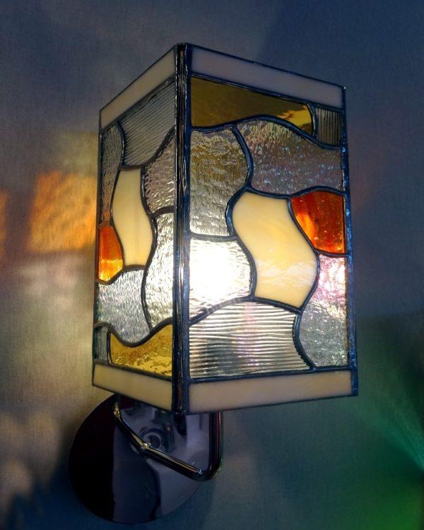 """Applique contemporaine orange en vitrail """"Tiffany"""" - Sud Vitrail Mosaïque"""