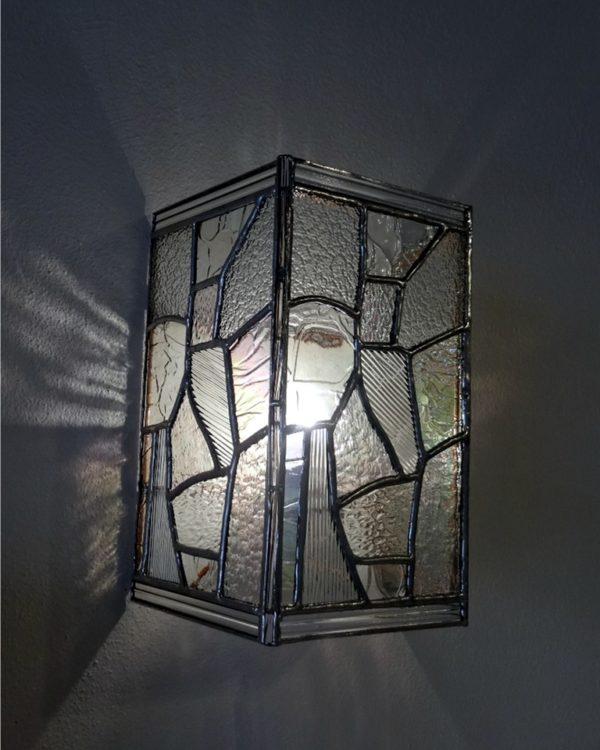 """Applique contemporaine transparente en vitrail """"Tiffany"""" - Sud Vitrail Mosaïque"""