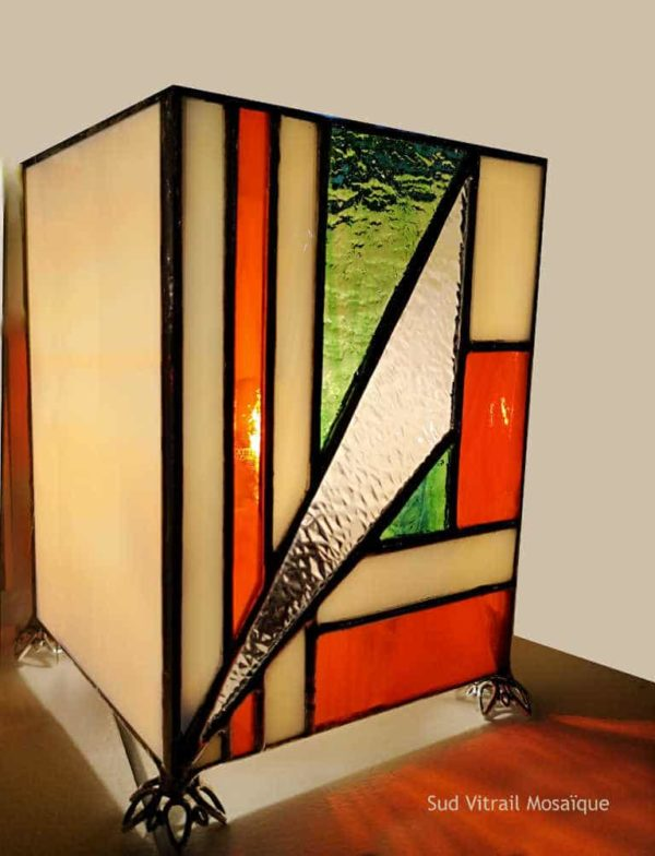 "Lampe en vitrail ""Tiffany"" - Sud VItrail Mosaïque"