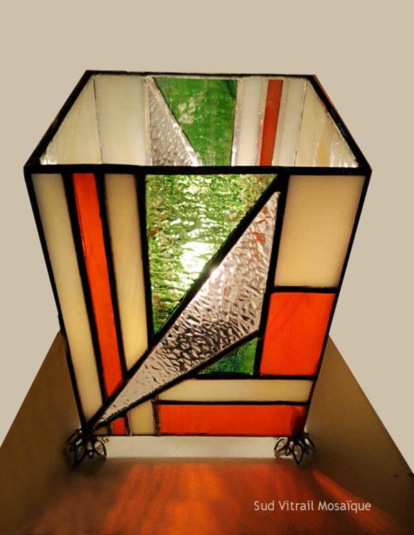 Lampe Art Déco en vitrail Tiffany - Sud Vitrail Mosaïque
