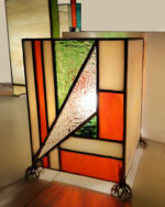 """Lampe Art Déco en vitrail """"Tiffany"""" – beige – orange – vert"""