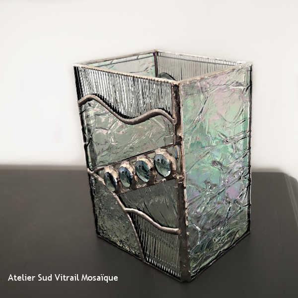 Cache-vase en vitrail tiffany - Transparent et Bleu clair - Sud Vitrail Mosaique