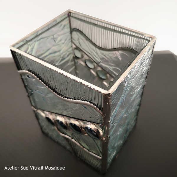 Cache-vase en vitrail Tiffany transparent – bleu clair