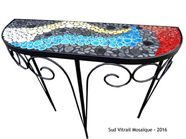 Console en mosaïque -Dégradé de galets émaillés - Sud Vtrail Mosaique