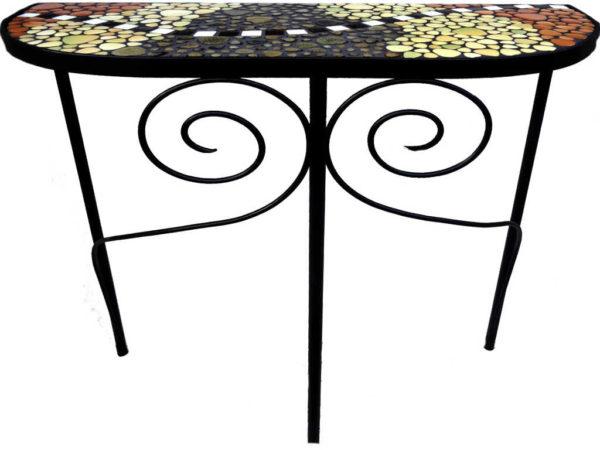 Console en mosaique de galets émaillés et émaux de Briare - Sud Vitrail Mosaiqu