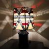 Lampe-Art Déco en Vitrail Tiffany Rouge - Noir - Beige - Sud Vitrail Mosaique