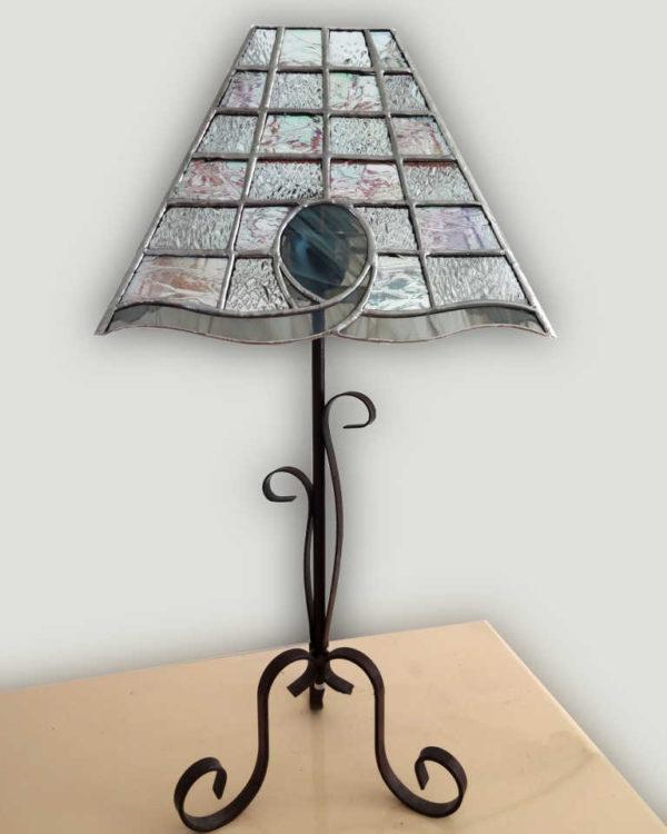 Lampe Cristal en vitrail tiffany gris -Sud Vitrail Mosaique