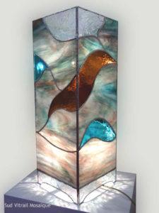 Lampe colonne en Vitrail Tiffany - Sud Vitrail Mosaiqu