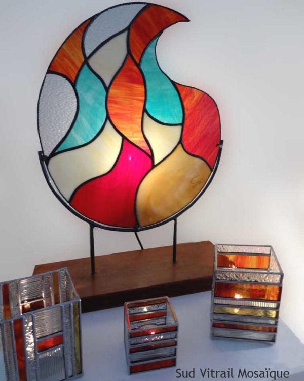 Lampe Flamme en vitrail tiffany - Sud Vitrail Mosaique