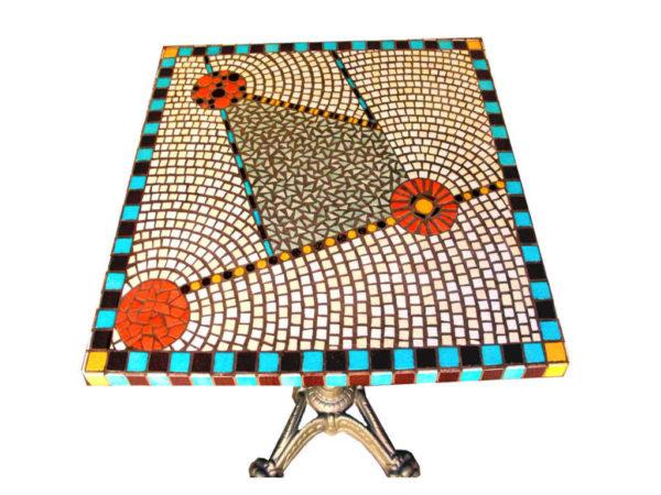 Table bistrot Art déco en mosaique - Sud Vitrail Mosaique