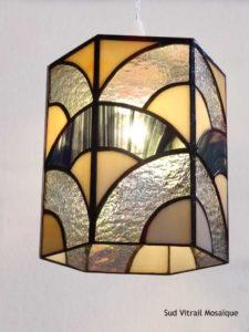Suspension en vitrail Art Déco en verre opalescent - Sud Vitrail Mosaique