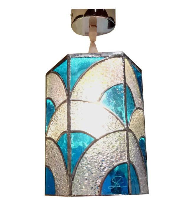 Suspension en Vitrail Tiffany Art déco bleu - Sud Vitrail Mosaique