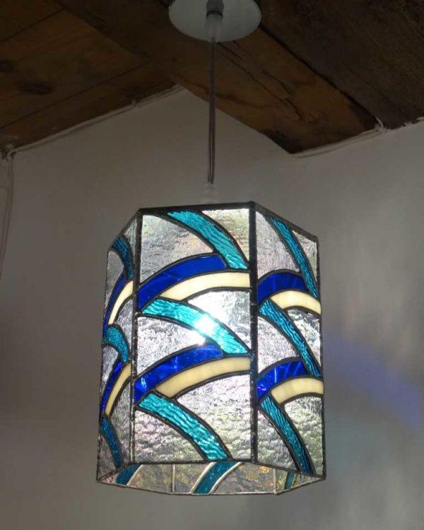 Suspension en vitrail Tiffany Bleu turquoise - Sud Vitrail Mosaique