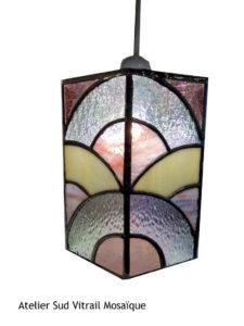 Suspension en vitrail tiffany Art déco rose - Sud Vitrail Mosaique