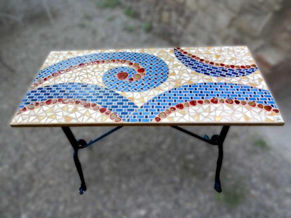 Table bistrot Cachemire rectangulaire en mosaique - Sud Vitrail Mosaique
