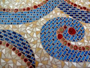 Détail mosaïque de la table bistrot Cachemire -Sud Vitrail Mosaiqu