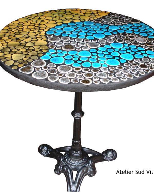 Table bistrot Caraïbe - mosaique - bleu turquoise - Sud Vitrail Mosaique