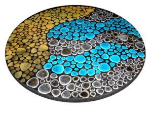 Table bistrot Caraïbe - Détail plateau mosaique - Sud Vitrail Mosaique