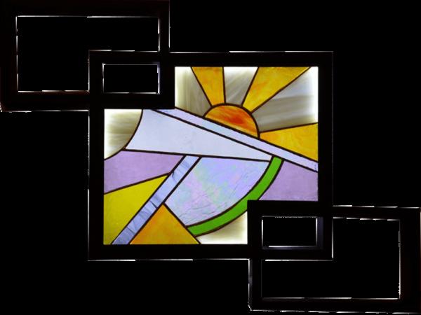 Tableau lumineux en Vitrail Tiffany - Soleil couchant - Sud Vitrail Mosaique