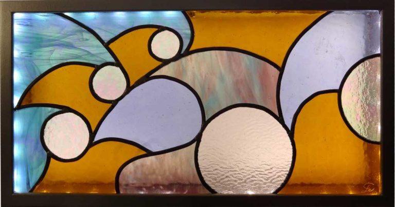 Tableau lumineux en Vitrail Tiffany - Tempête - Sud Vitrail Mosaiqu