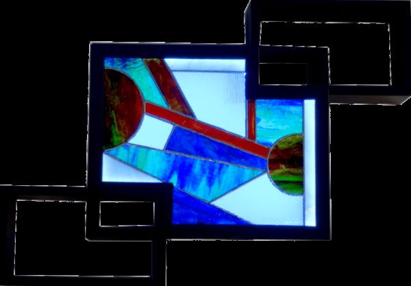 Tableau lumineux étagère en vitrail de style contemporain - Sud Vitrail Mosaïque