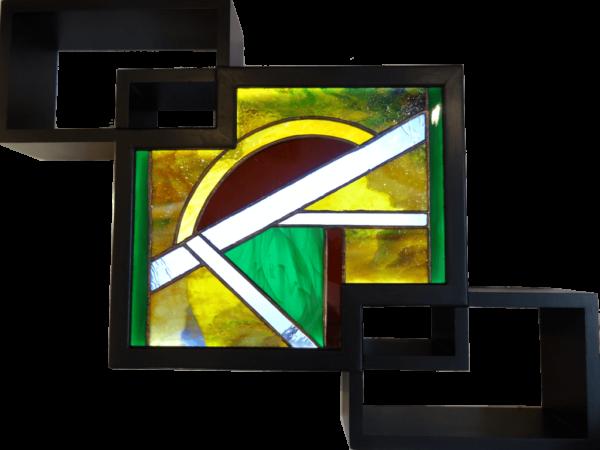 Tableau lumineux en vitrail de style contemporain vert - Sud Vitrail Mosaique
