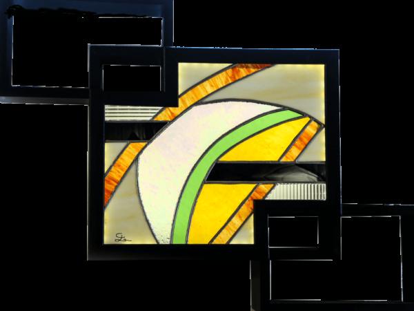 Tableau lumineux en vitrail tiffany de style contemporain vert et jaune - Sud Vitrail Mosaïque