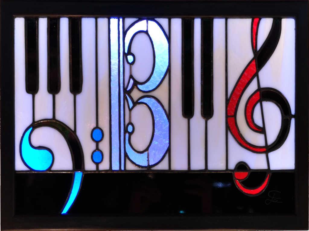 Lampe de table cubique en vitrail tiffany style année art