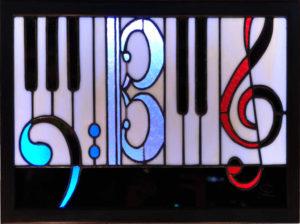 Tableau lumineux en VitrailTiffany - FaSolUt -Sud Vitrail Mosaique