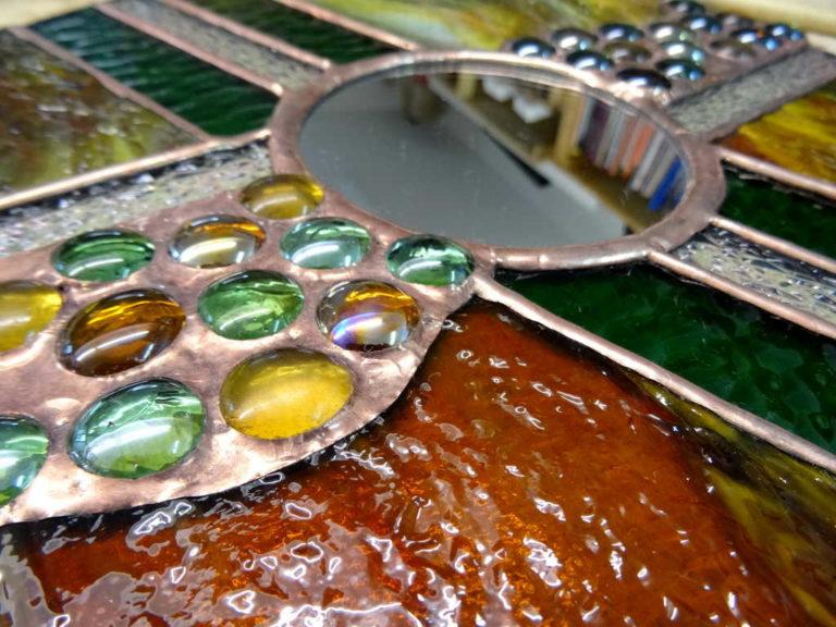 Miroir Vitrail Tiffany ambre - Sud Vitrail Mosaique