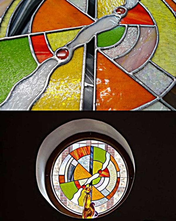 Vitrail Tiffany contemporain orange - Sud Vitrail Mosaique