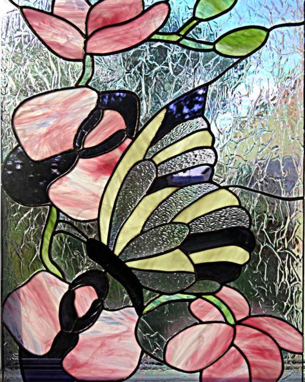 """Vitrail Tiffany """"Orchidées et Papillon"""""""